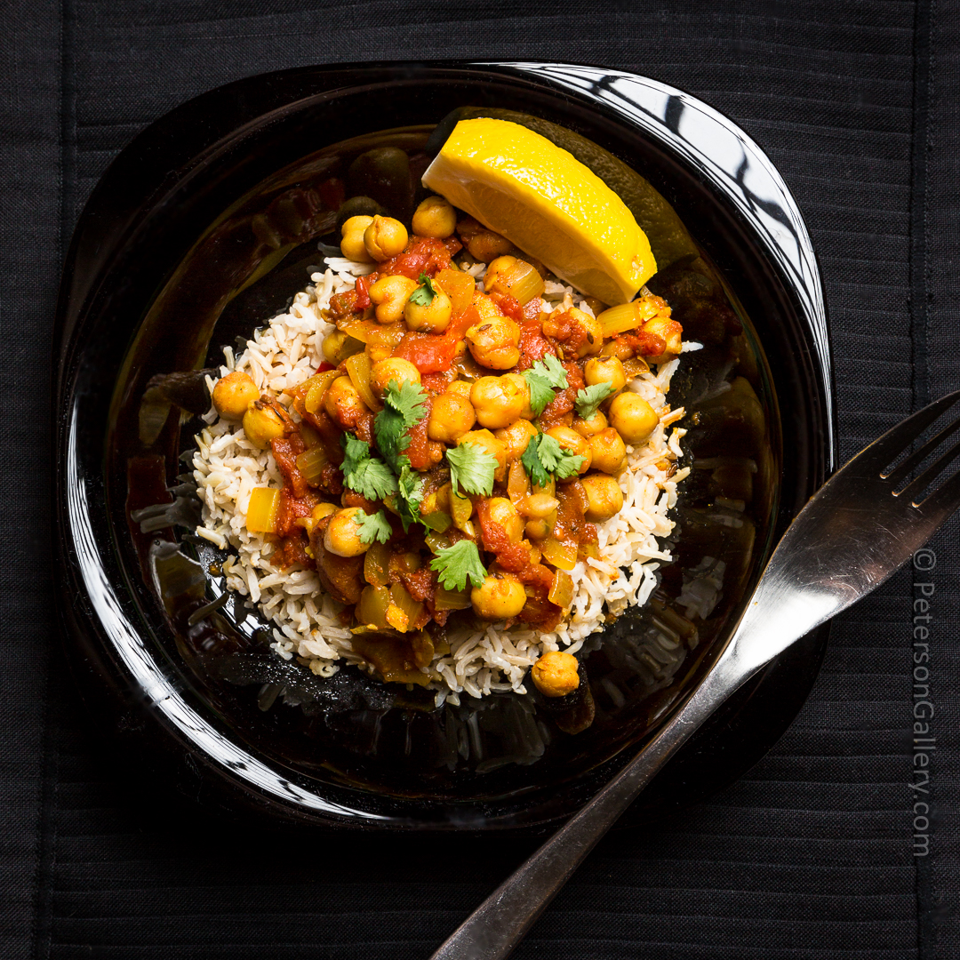 heart healthy chana masala over rice